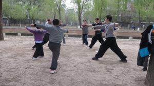 Занятия традиционным ушу в Китае